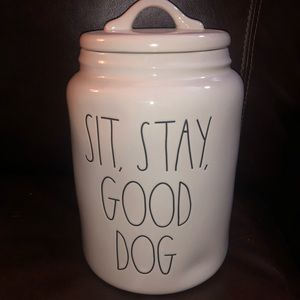 Rae Dunn Sit Stay Good Dog Canister NEW